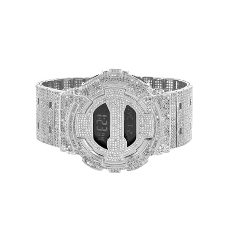 DW6900 G Shock Mens 14k White Gold Finish Iced Out Metal Band Digital Watch CZ