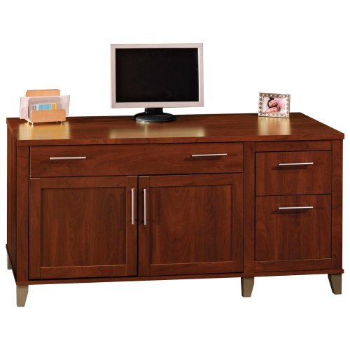 Bush Somerset Credenza Computer Desk - Hansen Cherry