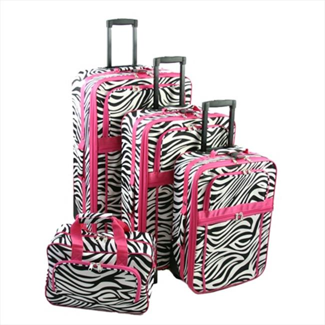 All-Seasons T8903-163-F Vacation Expandable Luggage Set, Pink Zebra Stripe - 3 Piece
