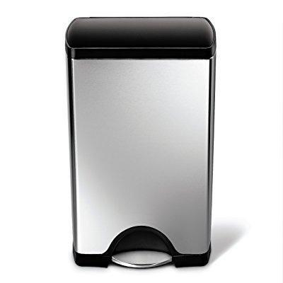 Simple Human Rectangular Trash Can (simplehuman rectangular step trash can, stainless steel, plastic lid, 38 l / 10 gal)