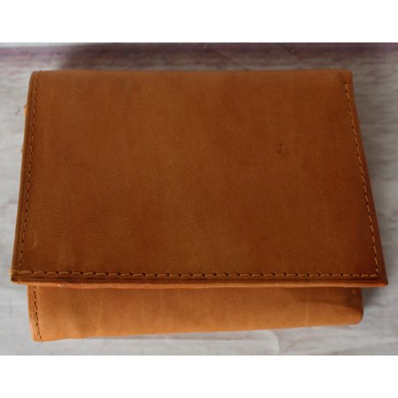 Light Brown Leather Tri-Fold Wallet with multiple card slots and bill section
