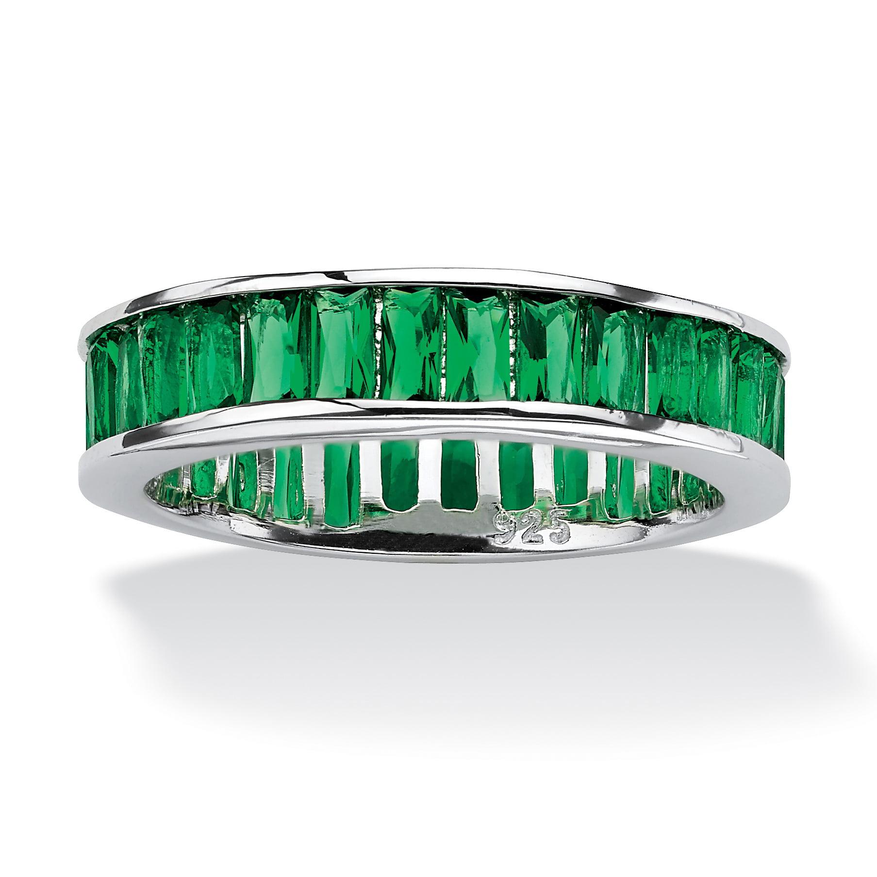 Emerald-Cut Birthstone Eternity Band in Sterling Silver - Walmart.com
