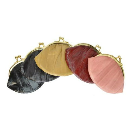- Eel skin coin/change purse with metal clasp Small Black