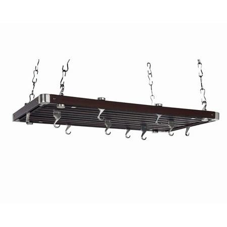 Rectangular Ceiling Pot Rack (Wood Rectangular Ceiling Kitchen Pot Rack)