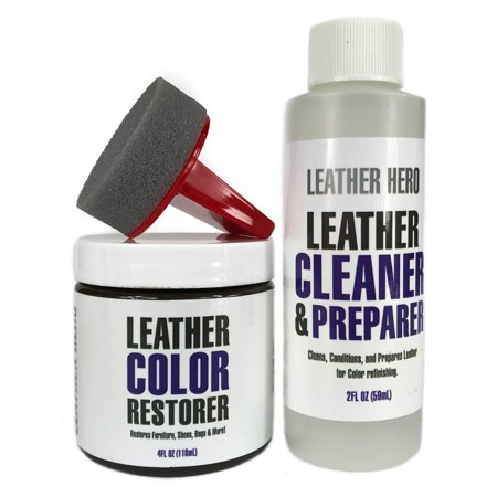 Leather Repair and Restoration Color Restorer Kit for Handbags, Sofas, Shoes & More 4oz - Leather Hero COGNAC - 21 Cognac Leather