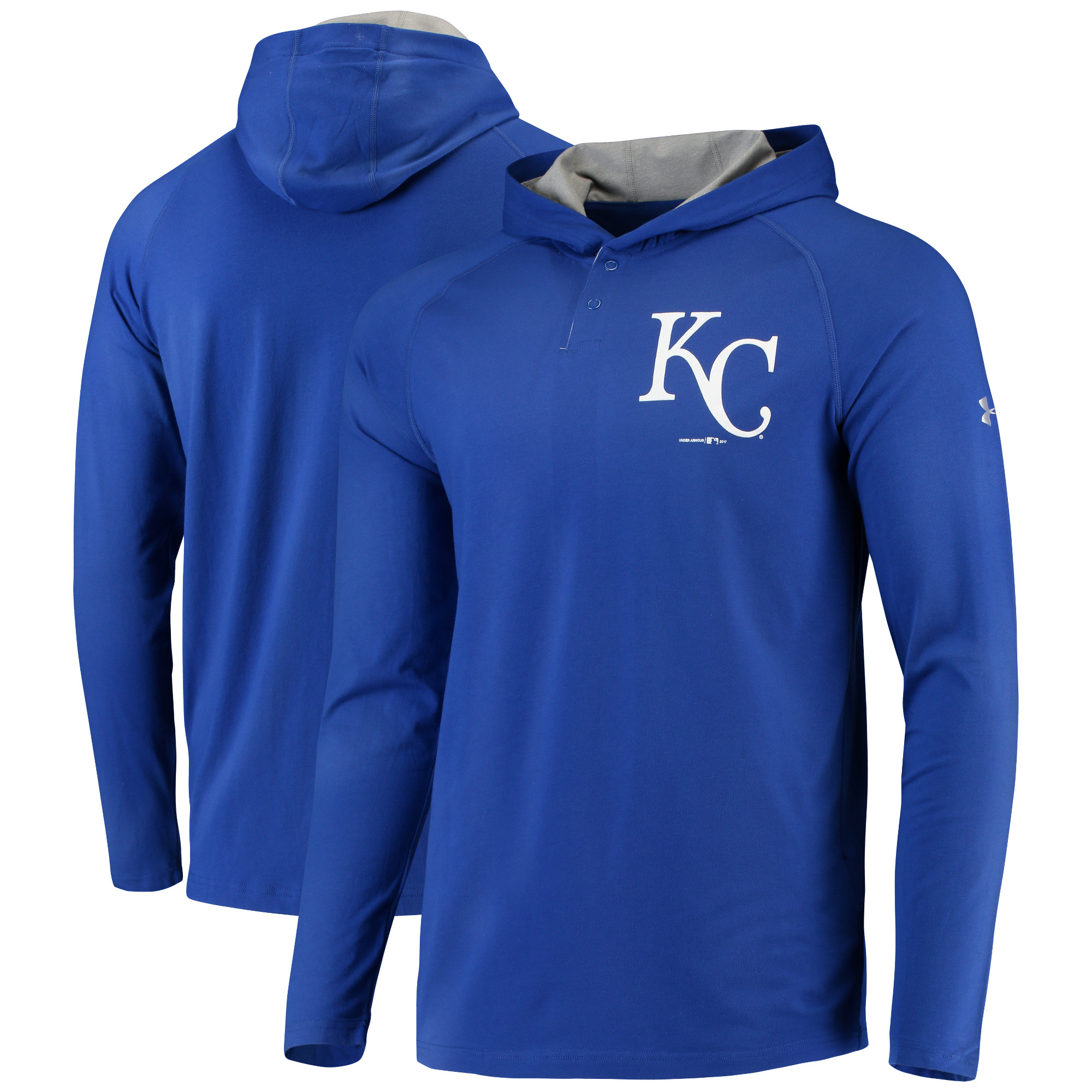 Kansas City Royals Under Armour Charged Henley Pullover Hoodie - Royal