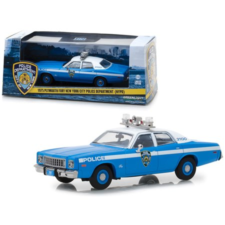 1975 Plymouth Fury New York City Police Department (NYPD) Blue with White Top 1/43 Diecast Model Car by Greenlight