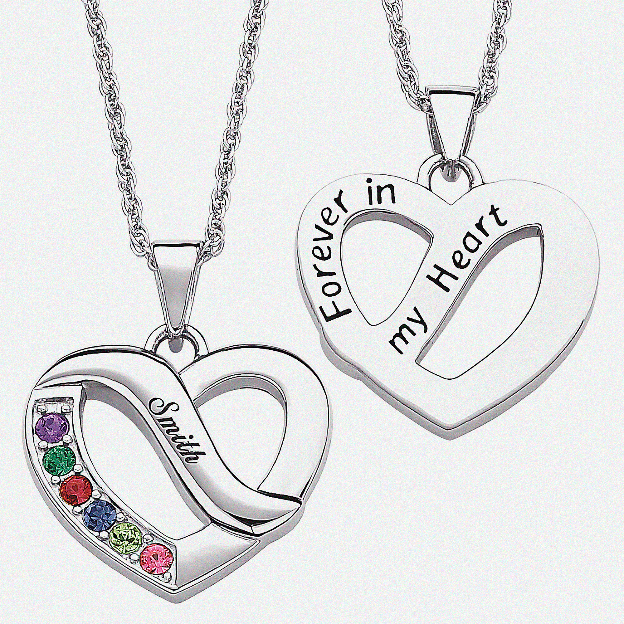 Personalized Family Name & Birthstone Heart Necklace