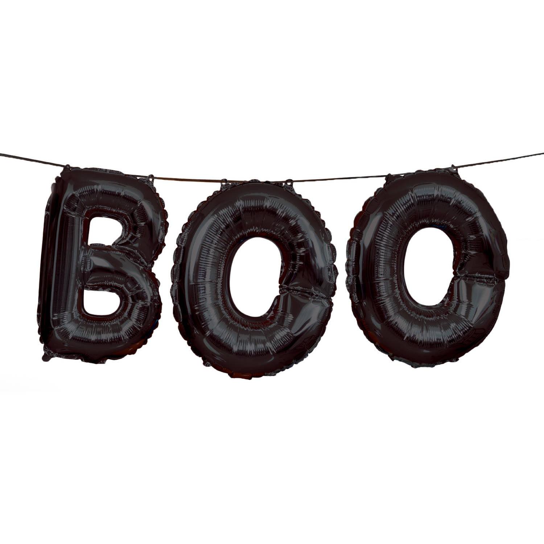 """Foil """"Boo"""" Halloween Letter Balloon Banner Kit, 9 ft, Black, 1ct"""