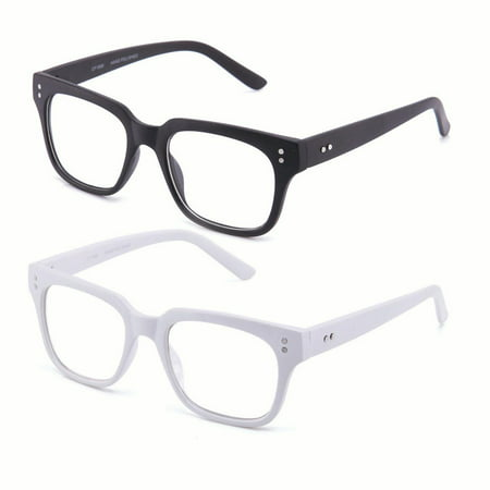 Newbee Fashion - Clear Frames Nerd Geek Squared Simple Fashion Clear (Geek Chic Glasses Frames)
