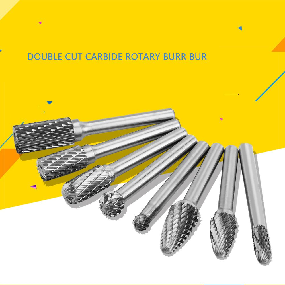 Carbide Rotary Burr Double Cut 1//4-Shank Die Grinder Drill Set of 9  Double Cut