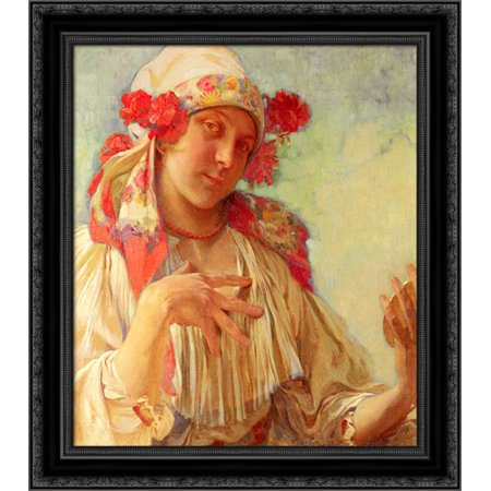 Young Girl In A Moravian Costume 20x21 Black Ornate Wood Framed Canvas Art by Mucha, Alphonse Maria