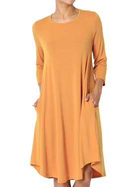 TheMogan Women's S~3X 3/4 Sleeve A-Line Flared Jersey Knit Pocket T-Shirt Dress