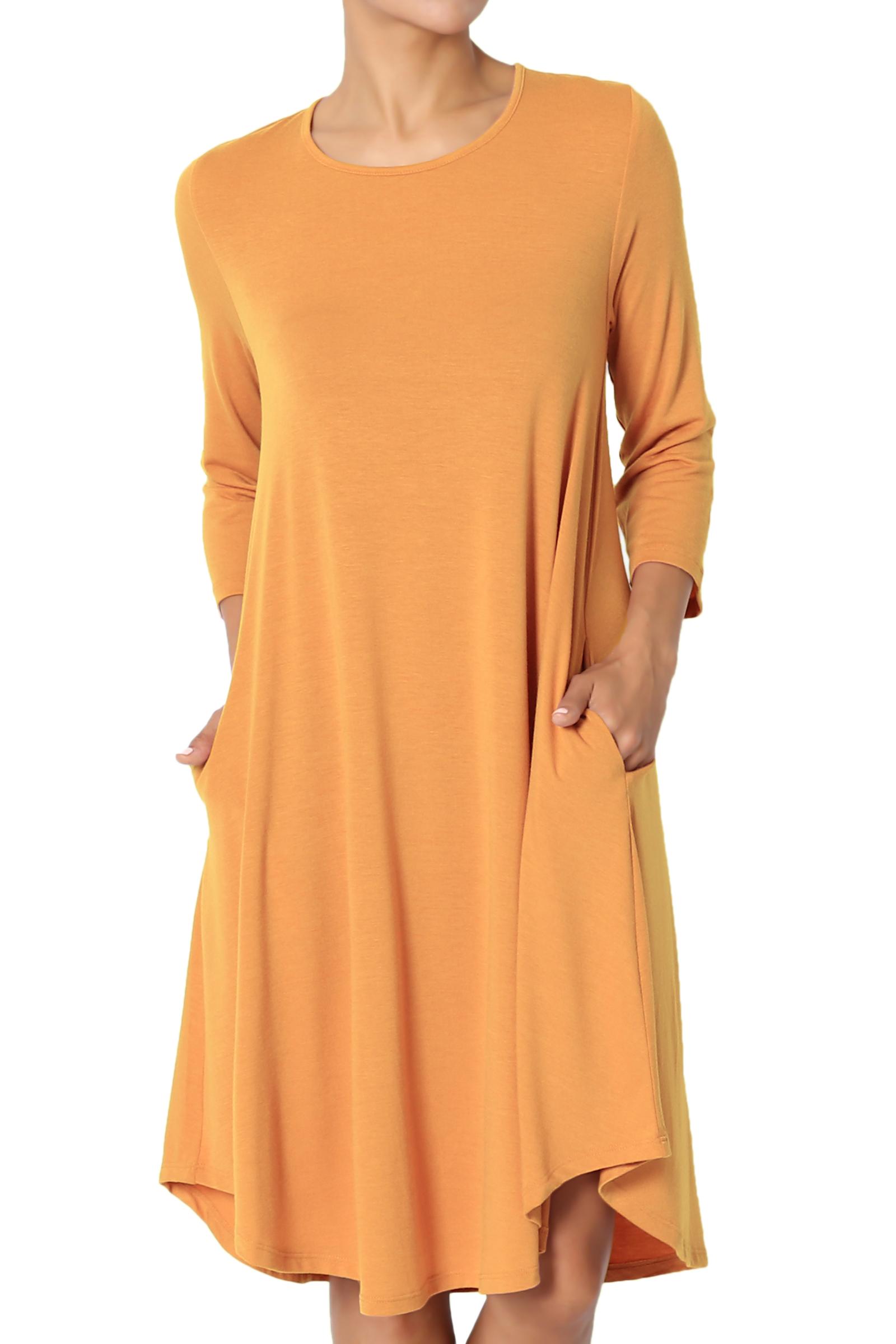 TheMogan Women's PLUS 3/4 Sleeve A-Line Flared Jersey Knit Pocket T-Shirt Dress