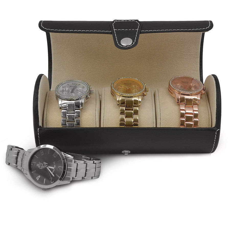 Leatherette Roll Traveler's Watch Storage Organizer for 3 Watches and/or Bracelets, Black