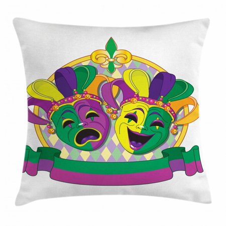 New Orleans Throw Pillow Cushion Cover, Traditional Mardi Gras Comedy and Tragedy Masks Design with Rhombuses Pattern, Decorative Square Accent Pillow Case, 16 X 16 Inches, Multicolor, by Ambesonne](Tragedy And Comedy Masks)