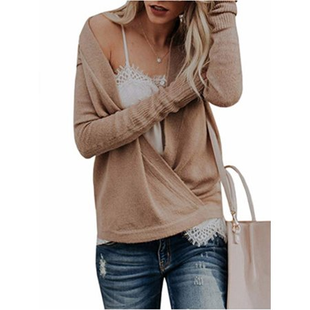 Autumn Fall V-neck Women Knit Pullover Sweater ()