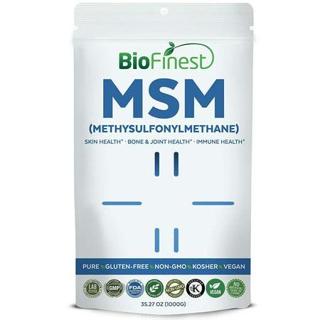Biofinest MSM (Methysulfonylmethane) Powder - Pure Gluten-Free Non-GMO Kosher Vegan Friendly - Supplement for Healthy Skin, Eyesight, Bone, Joint, Athletic Performance, Immune Support (1000g)