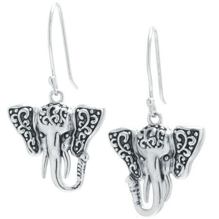 Sterling Silver Artisan Elephant Drop Earrings