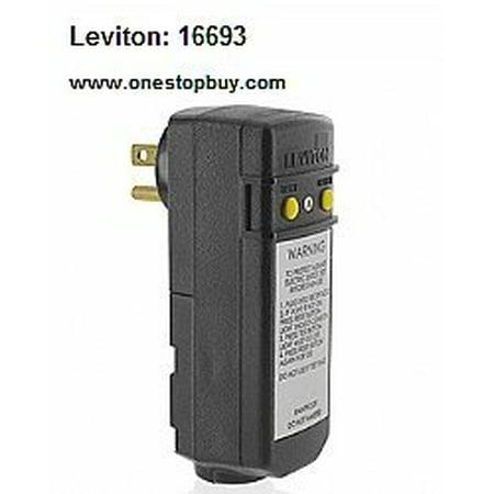 Leviton 16693 15A 120V Compact Automatic Reset Right Angle GFCI Black