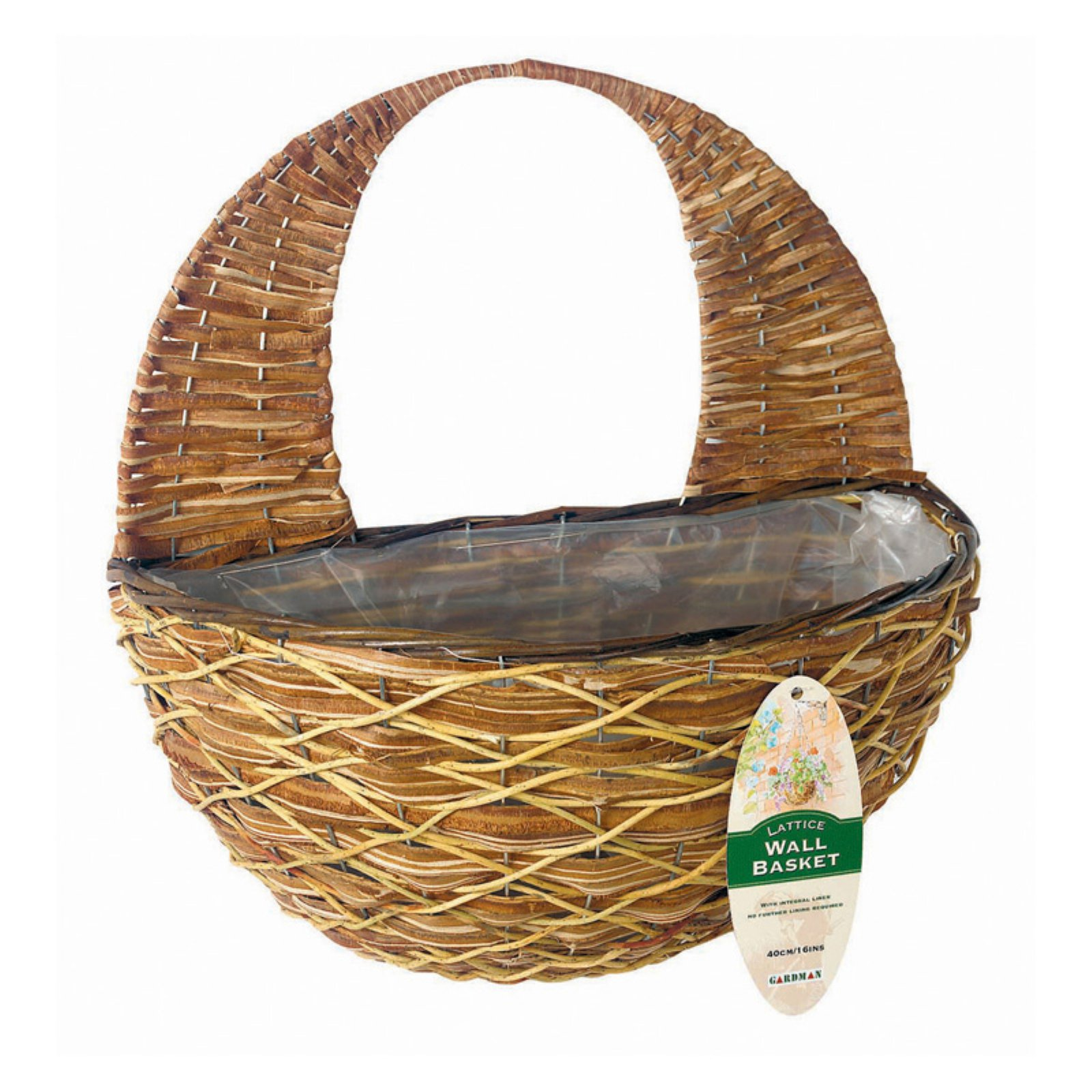 Gardman 16 in. Lattice Rattan Wall Basket