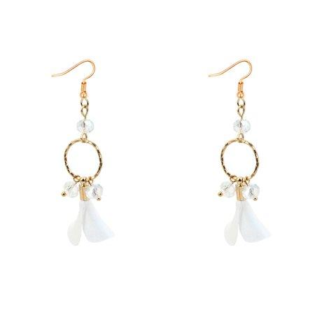 HOSHIAME Elegant Lovely Crystal Flower Petal Dangle Earring Drop White