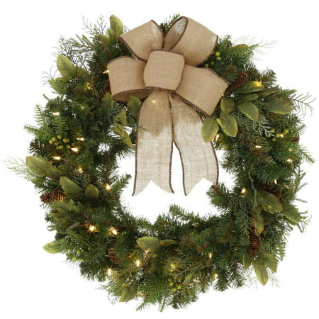 30 in. LED Pre-Lit Nature Inspired Artificial Christmas Wreath with Burlap Bow and 50 Battery-Operated Warm-White Lights ()