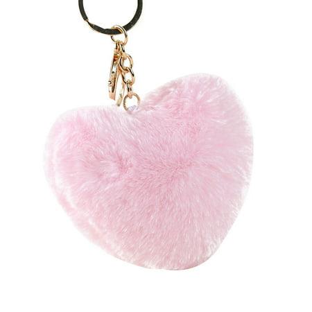 Hair Ball Heart Shape Pendant Handbag Keychain Key Buckle Ring Mobile Phone Hanging Decor Heart Cell Phone Pendant