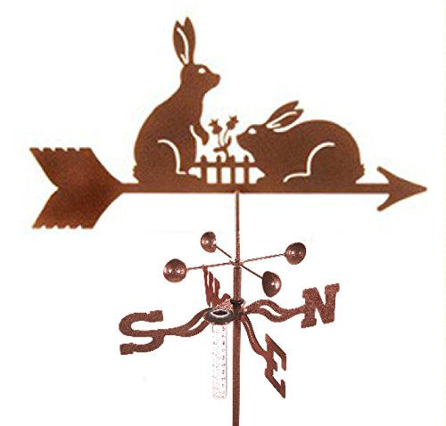 Bunny Rabbits Rain Gauge Garden Stake Weathervane by