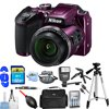 Nikon COOLPIX B500 Digital Camera (Purple) 26507-IV Pro Bundle with 32GB SD, Flash, Tripods, Gadget Bag, HDMI Cable + More