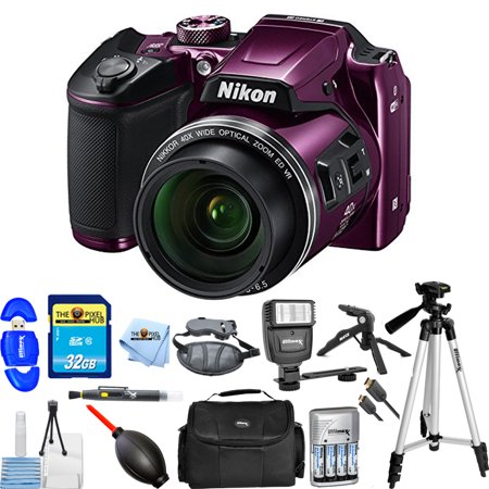 Nikon COOLPIX B500 Digital Camera (Purple) 26507-IV Pro Bundle with 32GB SD, Flash, Tripods, Gadget Bag, HDMI Cable +