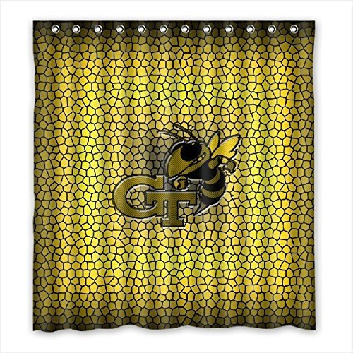 DEYOU Georgia Tech Yellow Jackets Shower Curtain Polyester Fabric Bathroom Shower Curtain Size 66x72 inch