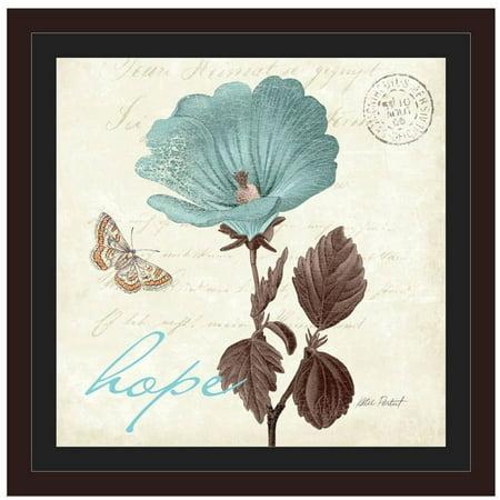 Touch Of Blue III - Hope by Eazl Walnut Framed Premium Gallery Wrap Easel Walnut Frames
