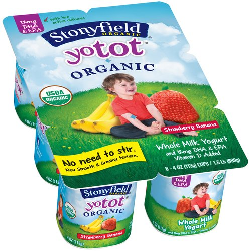 Stonyfield Organic YoTot Strawberry Banana Whole Milk Yogurt, 4 oz, 6 count