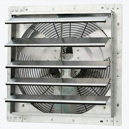 52' Ceiling Fan Brushed Steel (iLiving ILG8SF18V 18 Inch Variable Speed Wall Mounted Steel Shutter Exhaust Fan)