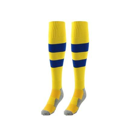 Sports Nylon Baseball Soccer Football Long Socks Stockings Yellow Blue Pair
