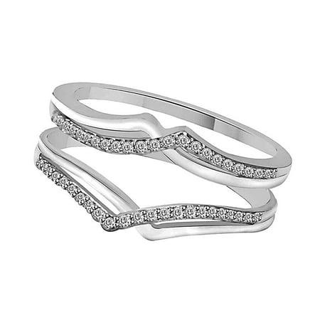 White Natural Diamond Two Rows Solitaire Enhancer Guard Wrap Ring in 10k White Gold (0.15 Cttw) - Onyx Diamond Enhancer