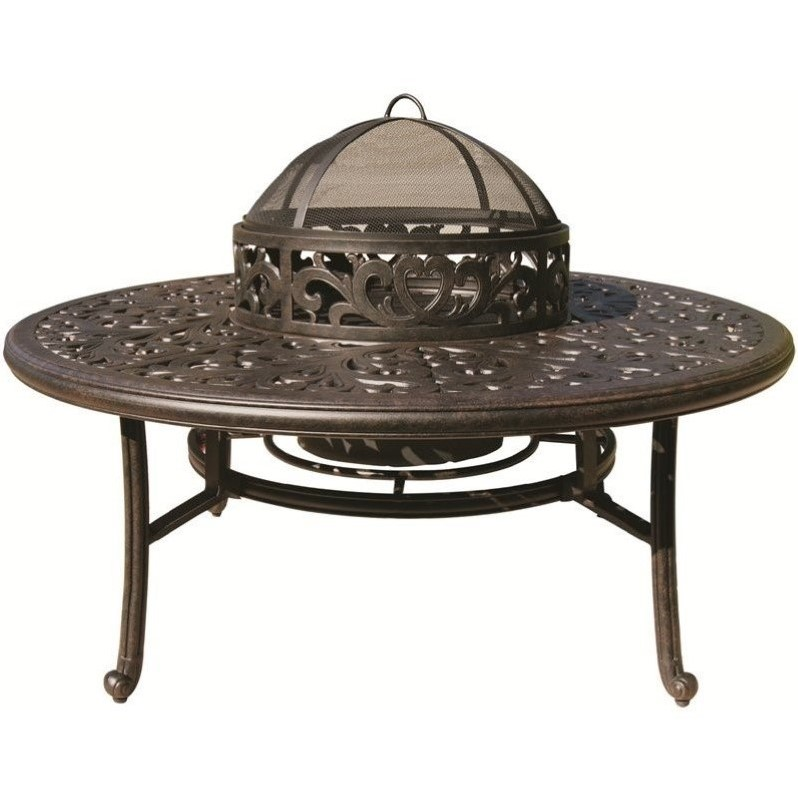 "Darlee 52"" Round Patio Table with BBQ and Fire Pit in Ant..."