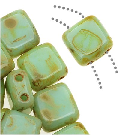 CzechMates Glass 2-Hole Square Tile Beads 6mm - Opaque Pale Turquoise