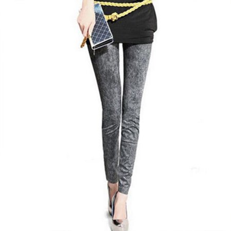Womens Stretchy Skinny Leggings Denim Look Jeans Pencil Pants Slim Fit Trousers (Stretchy Bell Bottom Pants)