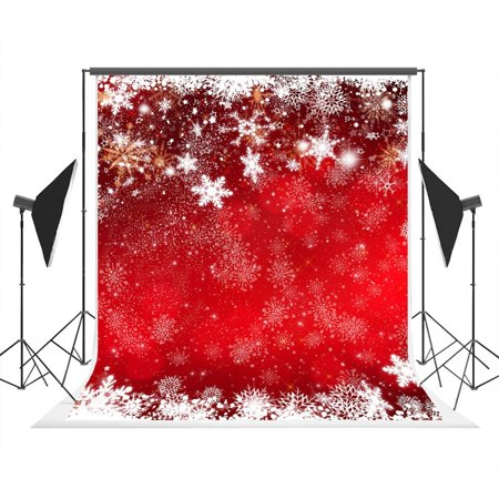 GreenDecor Polyster 5x7ft Christmas Red Photo Background with White Snowflakes Photography Backdrop Studio Props