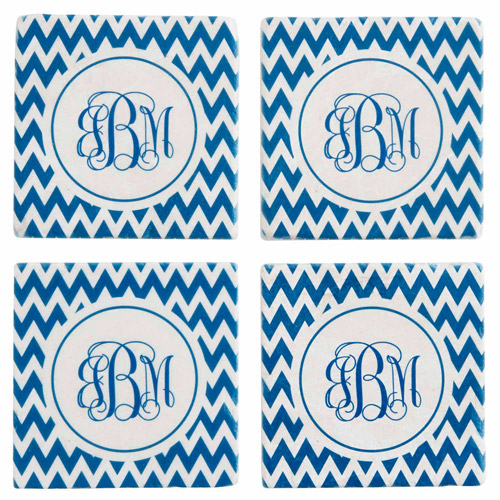 Personalized Chevron Monogram Coasters