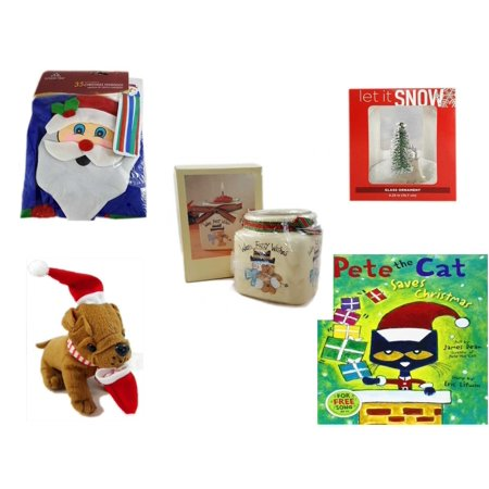 Christmas Fun Gift Bundle [5 Piece] -  Time  Windsock Santa - Let It Snow Glass Ornament Deer - Short Candle Jars