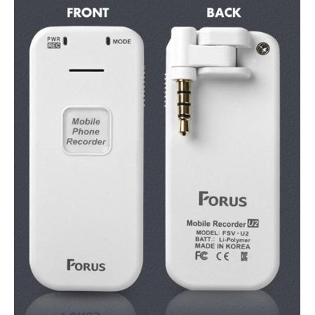 Forus FSV-U2 Cell Phone Call Recorder for iPhone, Android, or Any Smartphone - Conversation Voice Recording Device - image 5 de 7