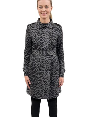 Love Token Sandee Grey Leopard Trench Coat | Extra Small - Grey Leopard | LT30-03-XS-GLEO