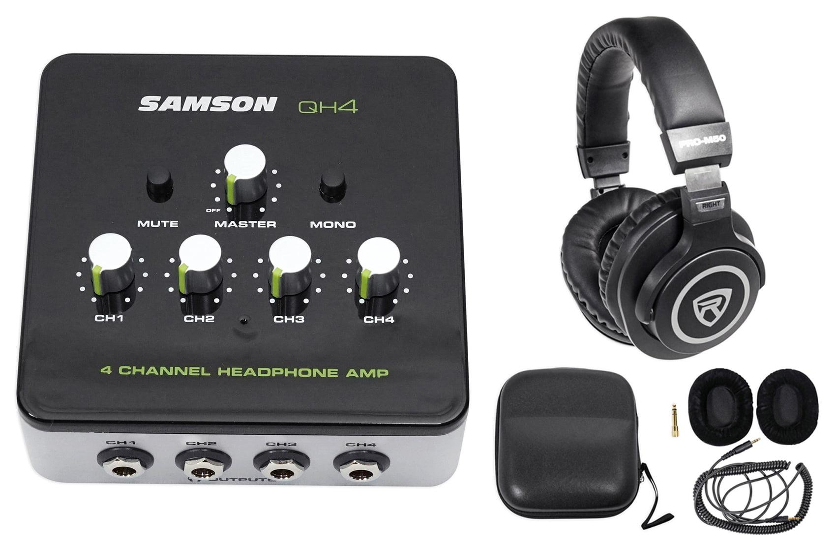 SAMSON QH4 4-Ch Stereo DJ Monitoring Headphone Amplifier Amp+Studio Headphones by Samson