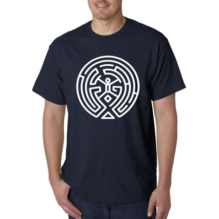 Trendy USA 930 - Unisex T-Shirt The Maze Human Mind Discovery Large Navy