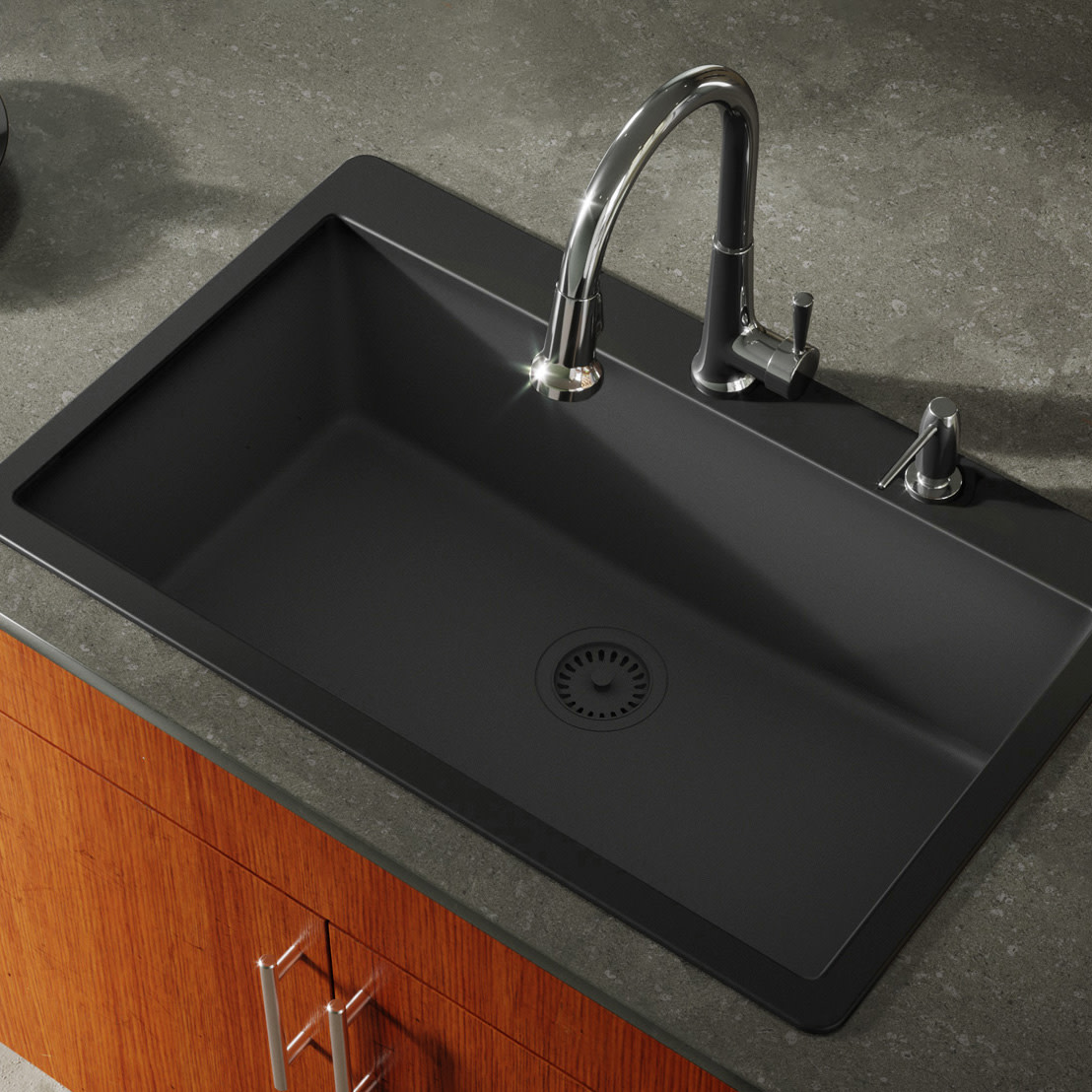 Miseno Mg3321t Carolina 33 Single Basin Drop In Stone Composite Kitchen Sink Walmart Com Walmart Com
