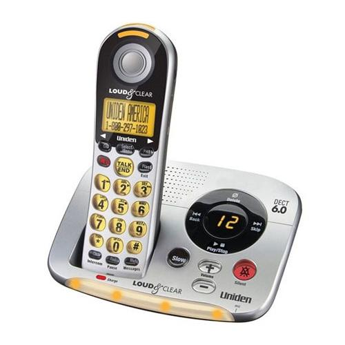 Uniden D2997 DECT 6.0 Loud & Clear Big Button Cordless Phone w/ Caller ID & Digital Answering Machine