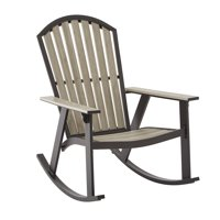 GHP Indoor Outdoor Furniture Porch Resin Durable Faux Wood Adirondack Rocking Chair